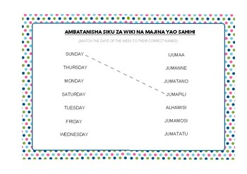 Swahili Days of the Week - Matching Exercise