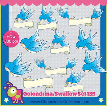 Swallow Clipart, graduation clipart, good luck, english and spanish Set 135