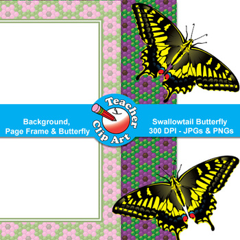 Swallowtail Butterfly Clip Art — Backgrounds, Page Frames