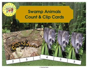 Swamp Animals Count and Clip Task Cards