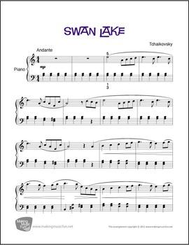 Swan Lake (Tchaikovsky) | Sheet Music for Intermediate Piano (Digital Print)