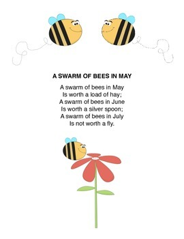 """""""Swarm of Bees in May"""" Mother Goose Rhyme Popsicle Stick Puppets"""