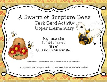 """Swarm of Scripture """"Bees"""" - Bible Lesson Task Cards for Up"""
