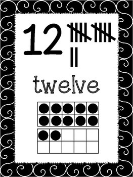 Swarthy {Black & White} Number Posters {Math} Ten Frames {Number Concept} Anchor