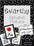 Black and White Classroom Alphabet Posters DNealian Font