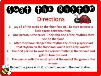 Swat the Rhythm (tikitiki, ta, titi, sh) Flyswatter Activity for Music Class
