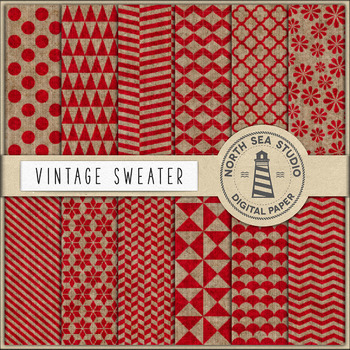 Sweater Digital Paper, Beige And Red Knitted Patterns, Knit Sweater Patterns