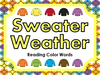 Sweater Weather • Reading Color Words • File Folder Game