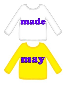 """Sweaters on Clothesline """"FRY"""" Sight Words - 4th 25"""