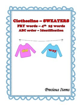 "Sweaters on Clothesline ""FRY"" Sight Words - 4th 25"