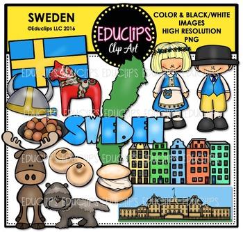Sweden Clip Art Bundle {Educlips Clipart}