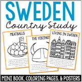 Sweden Country Study Mini Book, Coloring Pages, Activities, and Posters Set
