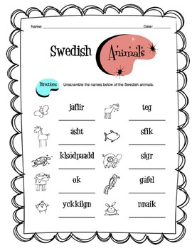 Swedish Animals Worksheet Packet
