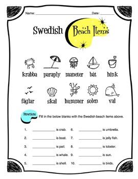 Swedish Beach Items Worksheet Packet