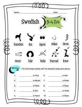Swedish Body Parts Worksheet Packet
