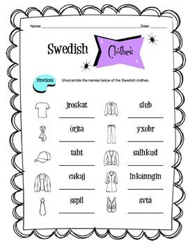 Swedish Clothing Items Worksheet Packet