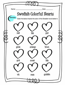 Swedish Colors Worksheet