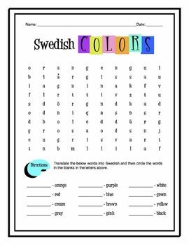 Swedish Colors Worksheet Packet