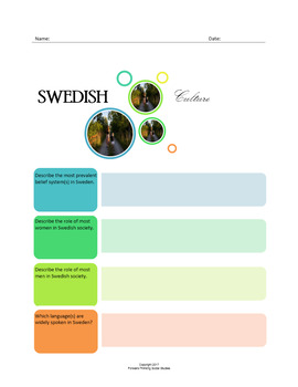 Swedish Culture:  A Fillable Fact-Finding Sheet