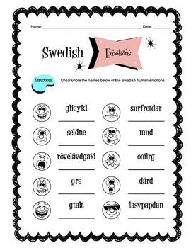 Swedish Human Emotions Worksheet Packet