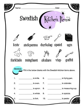Swedish Kitchen Items Worksheet Packet