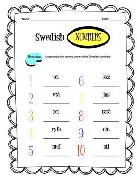 Swedish Numbers 1-10 Worksheet Packet