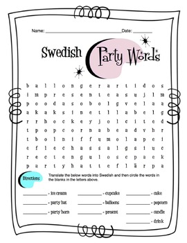 Swedish Party Items Worksheet Packet