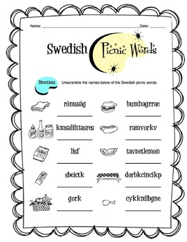 Swedish Picnic Items Worksheet Packet