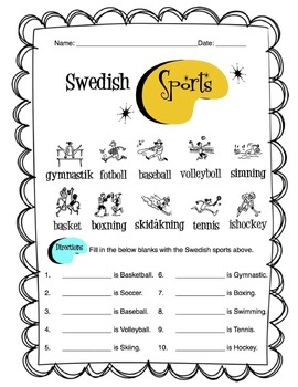 Swedish Sports Worksheet Packet