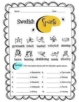 Swedish Sports Worksheet Packet