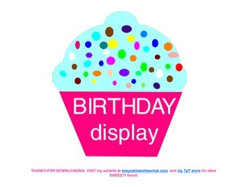 Sweeet! Cupcake Birthday Display / Chart