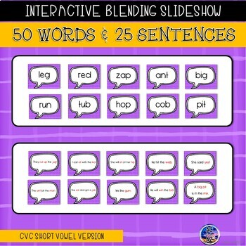 Sweep and Say Pack 1- CVC Short Vowels (interactive slideshow and activities)