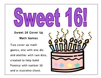 Sweet 16 - Cover Up Math Games for the Number 16