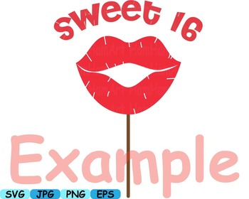 Sweet 16 Props 16th Sixteen Pink Party Décor Lips Clipart birthday SVG hats 177s