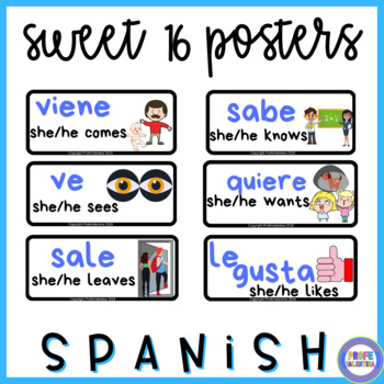 Sweet 16 Spanish Word Wall Posters
