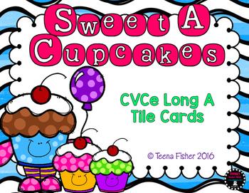 Sweet A Cupcakes Long A CVCE Word Tile Cards