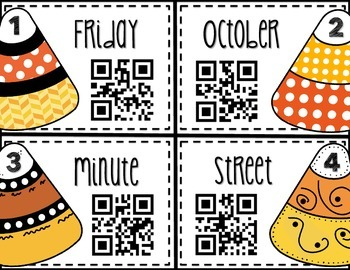 Halloween Grammar: Sweet Abbreviations - Task Cards with QR Codes