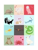 Sweet Animal Valentine's for Students, Printable sheet of 12