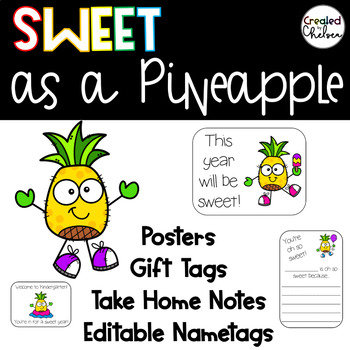 Sweet as a Pineapple {Posters, editable name tags, gift tags, & take home notes}