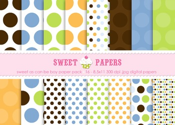 Sweet As Can Be Blue Polka Dots Digital Paper Pack - by Sweet Papers