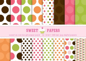 Sweet As Can Be Pink, Orange Polkadot Digital Paper Pack - by Sweet Papers
