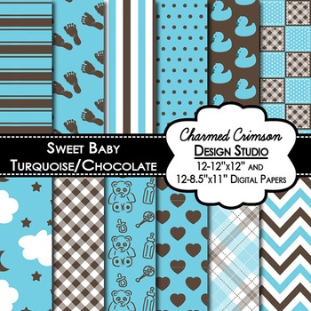 Turquoise and Chocolate Brown Baby Digital Paper 1280