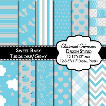 Sweet Baby Turquoise and Gray Digital Paper 1283