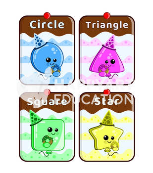 Montessori Sweet Balloons 2D Shapes Flash Cards
