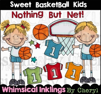 Sweet Basketball Kids Clipart Collection