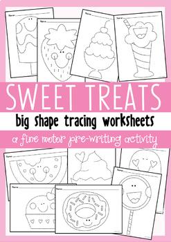 Sweet Big Shape Tracing {Prewriting Activity}