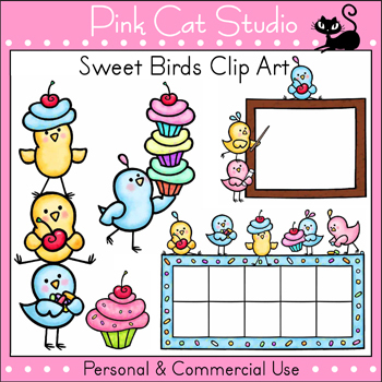 Sweet Birds Clip Art - Personal or Commercial Use