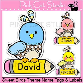 Bird Theme Labels And Name Tags By Pink Cat Studio Tpt