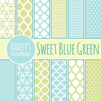 Sweet Blue Green Backgrounds  / Digital Papers / Patterns Clip Art Comm