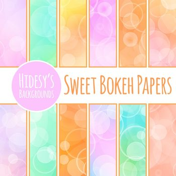 Sweet Bokeh - Digital Paper / Backgrounds Clip Art Set for Commercial Use